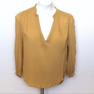 H&M mustard yellow rayon blouse size 12
